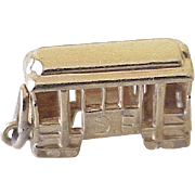Vintage San Francisco Cable Car Charm 14K Gold Three Dimensional Circa 1960's