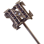 Sigma Nu Fraternity Antique Stick Pin 14K Gold Seed Pearl & Garnet