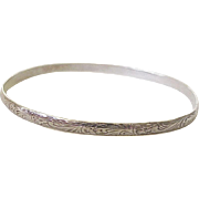 Vintage Sterling Silver Bangle Bracelet Floral Engraved Design circa 1940's