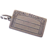 Vintage Social Security Card Charm Sterling Silver circa 1950's
