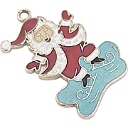 Vintage Santa Claus Charm Sterling Silver Enamel Accent by Wells circa 1960's