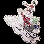 Santa Claus Vintage Holiday Charm Sterling Silver circa 1960's