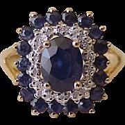 Estate Sapphire & Diamond Double Halo Ring 10K Gold