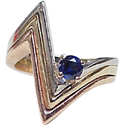 Vintage Chevron Ring 14K Tri-Color Gold Sapphire Accent