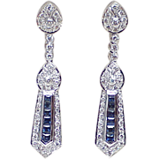 Art Deco Style Dangle Earrings Sapphire & Diamond 3.46 ctw 18k White Gold