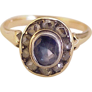 Victorian Sapphire & Rose Cut Diamond Ring 10K & Sterling Silver