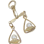 Vintage Scales of Justice Moving Charm 14K Gold & Cultured Pearl