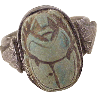 Egyptian Revival Ring Sterling Silver Faience Scarab, circa 1920's