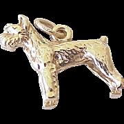 Vintage Schnauzer Dog Charm 14K Gold Three Dimensional circa 1960's