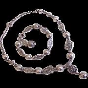 Necklace & Bracelet Set Sterling Silver Fleur De Lis & Floral Design