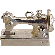 Mechanical Moving Sewing Machine Charm Sterling Silver