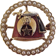 Edwardian Era SHRINERS Pin 14K Gold, Seed Pearl, Enamel Accent