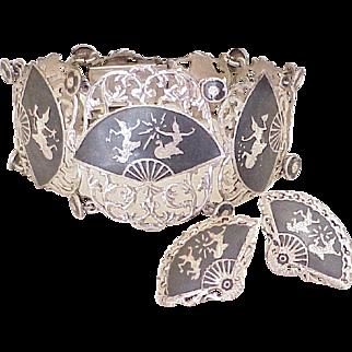 Vintage 1940's Siam Bracelet & Earring Set Sterling Silver Niello