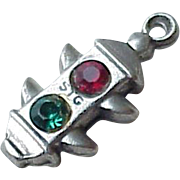 Jeweled Traffic Signal Light Charm Three-Dimensional Sterling Silver circa 1950's