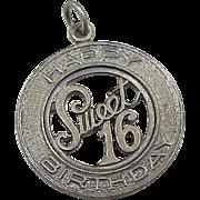 Vintage Sweet 16 Birthday Charm Sterling Silver by Danecraft circa 1960's