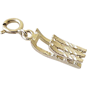 Vintage Snow Sled Charm 14k Gold Three Dimensional