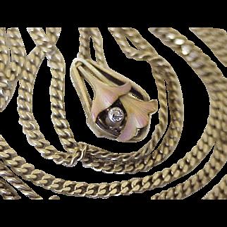 Art Nouveau Slide on Muff Guard Chain Diamond & Enamel Accent