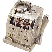 Vintage Mechanical Charm Slot Machine Sterling Silver circa 1960's