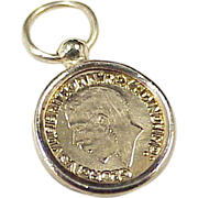 Vintage 14k Gold Sovereign Coin Charm, Miniature Copy