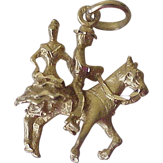 Vintage Andalusian Dancing Horse Charm 18K Gold Three Dimensional