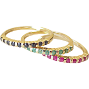 Set of 3 Vintage Gemstone Stack Rings 14k Gold, Sapphire, Emerald & Ruby