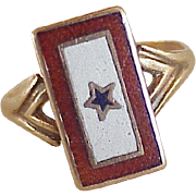WWI Victory Patriotic Ring Red, White & Blue Enamel With Star 10K Rose Gold