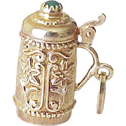 BIG Vintage Moving STEIN Charm 18K Gold Three Dimensional