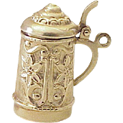 Vintage Moving Beer Stein Charm 14K Gold Three Dimensional