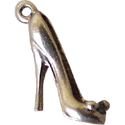 Vintage Stiletto High Heel Shoe Charm 14K Gold Three Dimensional Rhinestone Accent