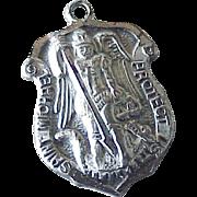 Saint Michael Archangel Medal Vintage Charm Sterling Silver