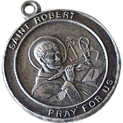 Saint Robert Medal Vintage Charm Sterling Silver