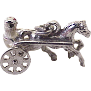 Vintage Moving Horse & Surrey Charm Sterling Silver Three Dimensional Circa 1960's
