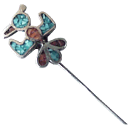 Thunderbird Stick Pin Sterling Silver Turquoise & Coral Chip Circa 1970's