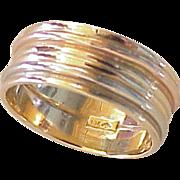 Vintage Tri-Color Wide Band Ring 8 mm 10K Gold