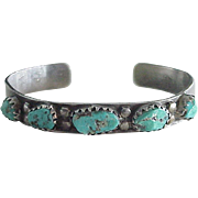 Native American Crafted Cuff Bracelet Sterling Silver & Turquoise