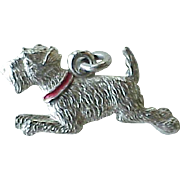 Terrier Dog Charm Sterling Silver Enamel Accent circa 1940's