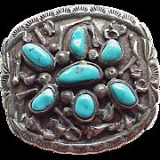 Vintage Navajo Tom Morgan Bolo Tie Centerpiece circa 1970's, Sterling Silver & Turquoise
