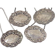 S Kirk Sterling Silver Liquor Decanter Tags / Labels, Set of 4 circa 1910-20's