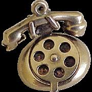 Vintage Romantic Telephone Charm 14K Gold Three Dimensional, Moves