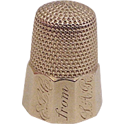 Vintage Sewing Thimble Solid 14k Gold, Size 7, Sturdy 6.1 Gram Weight