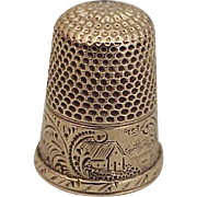 Edwardian Era Sewing Thimble Solid 14k Gold, Size 6, Ornately Engraved