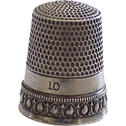 Sterling Silver Vintage Sewing Thimble Size 10, Simons Bros