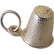 Vintage Sewing Thimble Charm 14k Gold Three Dimensional circa 1960's
