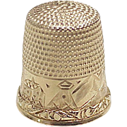 Antique Stern Bros. 14k Gold Sewing Thimble, Scenic Engraving