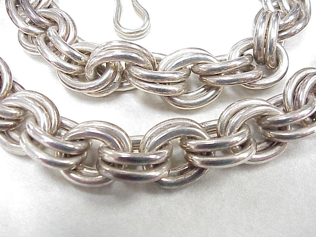Vintage Tiffany Amp Co Sterling Silver Chunky Double Link