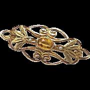 Edwardian Brooch Faux Topaz & Seed Pearl 10K Gold