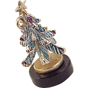 Vintage Holiday Charm Christmas Tree 14K Gold Enameled circa 1950's