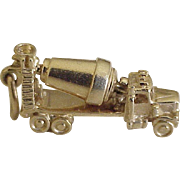 Vintage Cement Mixer Truck Charm 14K Gold Three Dimensional, Moves