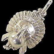 Vintage Turkey Charm Sterling Silver Three Dimensional circa 1960's