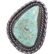 Vintage Native American Ring Sterling Silver & Turquoise circa 1970's